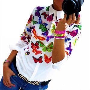 Floral Butterfly Printed Blouse Shirt Women Elegant White Blouse Spring Summer Tops Autumn New Slim Female Blouses