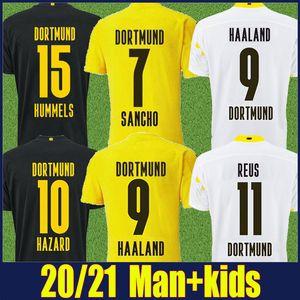 Chemise de football 2020 Dortmund Haaland Reus Sancho Soccer Jersey Dortmund Men Kit Kit Enfants 110ème anniversaire Edition Emre Can Soccer Uniforme 20/21
