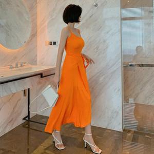2020 Sommer Neue Frauen Korean Casual Slim Bag Hüfte Weste Lace-up Dress Office Dame Sleeveless Knielange