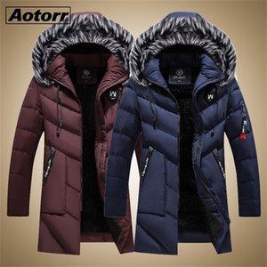 Thick Warm Parkas Coat Winter Jacket Men Casual Long Outwear Hooded Fur Collar Windbreaker Jackets Leather Coats Men Veste Homme 201224