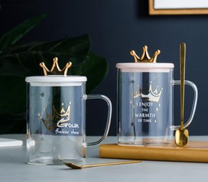 wholesale custom gift set Heat-resistant borosilicate 450ml glass milk coffee mug cup with gold Crown ceramic lid decoration and spoon