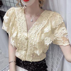 Women blouse shirt New 2020 Summer short sleeve v neck lace tops Fashion casual women shirt plus size lace