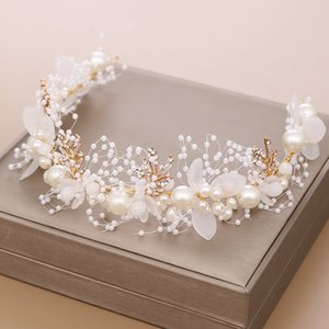 Gold Flower Pearl Headband Tiara Crown Wedding Bridal Princess Headbands Hair Jewelry Crystal Accessories Bride Headdress Headpiece AL7856