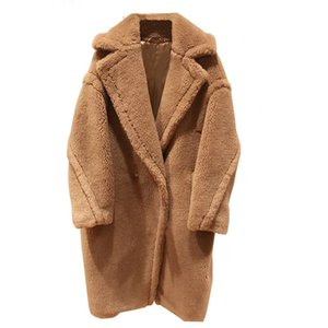 HOUT 2021 New Women Real Sheep Fur Wool Silk Coat Girl Leisure Solid Teddy Bear Color Jacket Over Size Trench Parkas Q0119