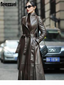 Nerazzurri Autumn long leather trench coat for women belt long sleeve skirted faux leather coat women plus size fashion 7xl 201006