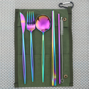 7-Piece Colorful Portable Eco-friendly Stainless Steel Travel Cutlery Set Knife Fork Spoon Chopsticks Straws Set Picnic Flatware Z1202