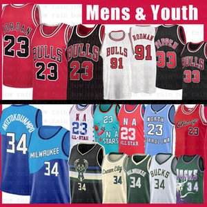 23 Michael Giannis 34 AntetokounMPO Scottie 33 Pippen Dennis 91 Rodman Basketball Jersey Herren Jugend ChicagoBullenMilwaukeeBock