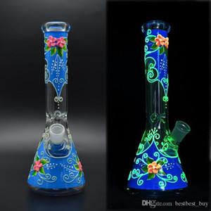 11 Zoll 5mm Becherglas Bong Hand Malerei Glas Wasserleitung Glühen im dunklen DAB-Rig-Öl-Rig-Recycler
