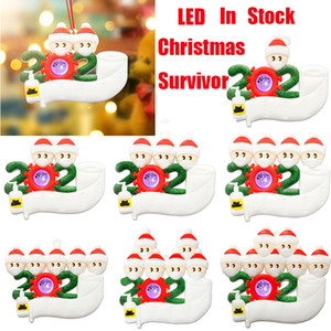 LED Christmas Personalizado Quarentine Ornaments Brinquedos Sobrevivente 1 a 7 Family Tree Lighting Decorações Xmas Festa Favor Máscara Presentes Brinquedos
