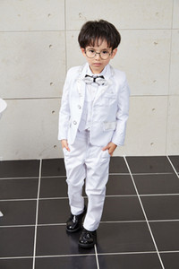 White Boys Wedding Suits New Size 2-10T Boy Suit Formal Party Five Sets Jacket-Vest-Trousers-Shirt-Tie Kids Suits Piano Show Costume