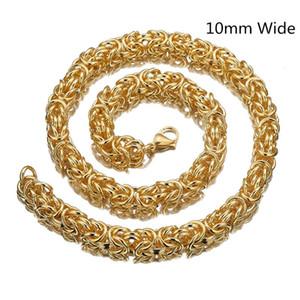 10 ملليمتر 7-40 بوصة الساخن بيع أعلى جودة 316l الفولاذ المقاوم للصدأ البيزنطية مربع رابط سلسلة قلادة سوار للرجال مجوهرات هدية