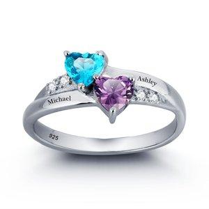 Presente de aniversário de Yizhan personalizado Anéis de birthstone personalizados Provoca gravada grátis anéis de coração para seu anel de nome de prata 925 esterlina