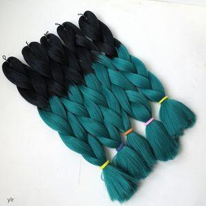 Kanekalon Ombre Synthetic Braiding Hair 24 pulgadas 100 g Blackbd Dos tonos Xpression Jumbo Crochet Braids Twist Synthetic Hair Extension