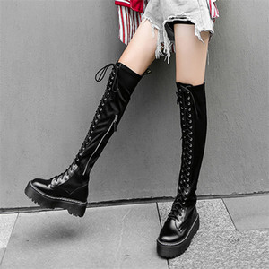 Thigh High Oxfords Shoes Women Lace Up Strappy Over The Knee High Motorcycle Boots Tall Shaft Punk Sneakers Black Goth CreepersZ1204