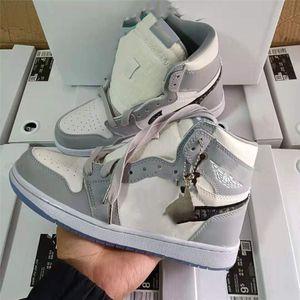 Nike Air Jordan 1 AJ1 x Dior Desear Kids Running Shoes Mid Cactus Jack Children Zapatillas al aire libre Boy Girl Trainer Baby Shoes Sports Dddler 36-46