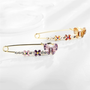 2 Colors Women Rhinstone Crystal Pins Fashion Jewelry Butterfly Brooches Breastpin Catch Scarf Lapel or Collar Decoration Kimter-K121FA