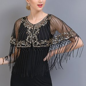 Women Vintage Shawl Beaded Sequin Fringe Flapper Bolero Sheer Floral Embroidery Mesh Shrug Cape Fancy Party Cover Up LJ201112