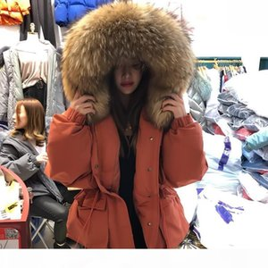 Janveny Huge Raccoon Fur Collar Hooded 2020 Short Female Winter Feather Down Coat Women 90% Duck Down Jacket Winter Puffer Parka