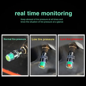 4pcs Set 2.4 Bar Car Tire Pressure Guage Cap Sensor Indicator Alert Monitoring Tool Alert Air Pressure Gauge Tyre Cap Indicator