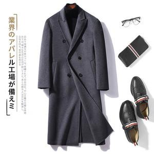 Autumn and winter woolen coat men's medium length Korean fashion wool double faced woolen windbreaker coat men's