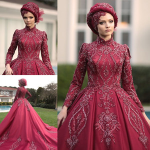 Gorgeous Beaded Muslim Wedding Dresses High Neck A Line Appliqued Long Sleeves Bridal Gowns Sequined Sweep Train Satin robe de mariée