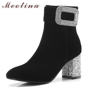 Meotina Women Boots Winter Ankle Boots Rhinestone Chunky High Heels Short Zip Square Toe Shoes Ladies Fall Big Size 33-43