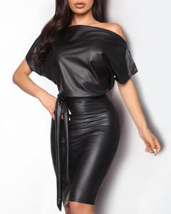 Женские дизайнерские платья весна наклонный воротник летучая мышь WNG искусственная кожа с коротким рукавом платье мода повседневная женская одежда