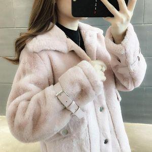 Women 2021 Autumn Winter New Faux Fur Coat Female Fake Fur Coats Loose Lapel OverCoat Thick Warm Lady Plush Outwear B283