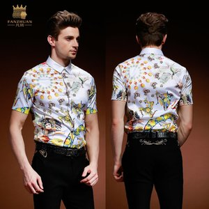 FANZHUAN Free shipping New Summer Men's male casual fashion embroidered short sleeved Korean personalized shirt 812094 J1217