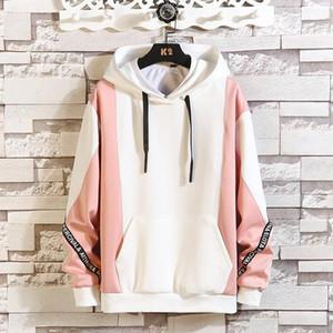Men and Women Fleece Hooded Color Block Sweatshirt Winter Japanese Fashion 2020 Plus Size Men's and Women's Pullover Warm Jacket