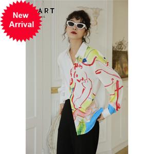 CheerArt Künstler Aquarell Druck Langarm Herbst Button Up Hemd Frauen Top Und Bluse Femme 2020 Koreanische Kleidung