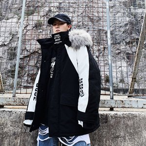 Hip Hop Men's Winter Jackets Fake Fur Collar Warm Hooded Parka Coat 2020 Streetwear Man Casual Baggy Jacket Coats Clothing