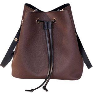 Luxury high quality Genuine Leather Brand Women's handbags Trendy Bucket bag Neonoe fashion canvas calfskin lady shoulder bag