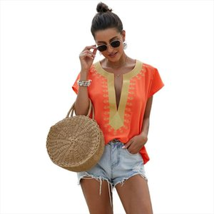 CINESSD Women Casual V neck Short Sleeve Cotton girl Solid Casual Blouse Top Shirt Women Loose Embroidery Shirt Y2