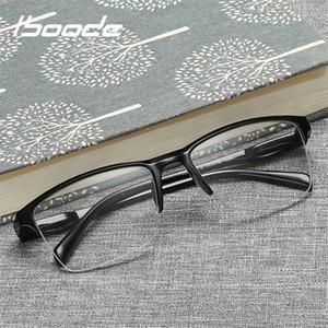 Iboode Half Cadre Lecture Lunettes Presbyopic Eyewear Mâle Femme Vue Vue Grillée Ultra Lumière Noir avec force +75 à +400