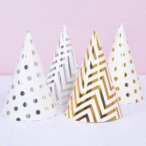 Birthday Party Hats Polka Dot Stripe Baby Kids Birthday Party Handmade Paper Cap Decoration Hat AHE3121