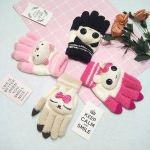 Weibliche winter warme nette cartoon panda katze strickhandschuhe mädchen frauen mode coral fleece volle fingerhandschuhe handschuhe