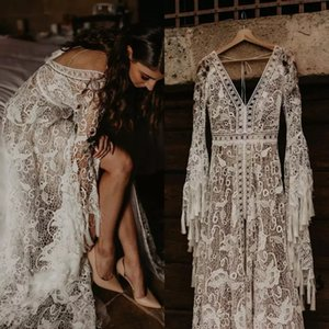 Vintage Tassel Bohemia Wedding Dresses Lace Flared Sleeves Unique Boho V Neck Backless Beach Bridal Gowns Country A Line Vestidos AL7852