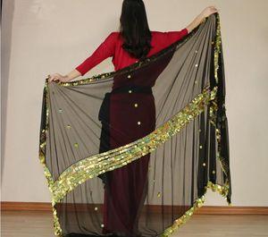 Bühnenbekleidung Großhandelsfrauen Bauchtanz Schal Schleier Große Größe Pailletten Hand Schal Stage Dancewear Scarves Malaya Tuch