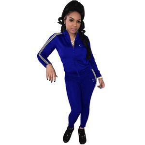 Champions Women brand 2 Piece Set Fall Winter clothing fitness jacket pants tracksuit Cardigan leggings sports set hooded trousers bodysuit