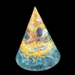 Wholesale 5 Pcs Orgone Energy Stone and Resin Pyramid Pendant Copper Wire Wrap Tree of Life Jewelry