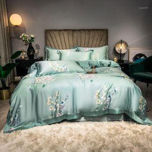 Light Green,Pink Floral Blossom Duvet Cover set Ultra Soft Tencel Summer Bedding set Flat sheet Pillowcases Queen King size 4pcs1