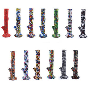 Height 365mm Silicon Bong Smoke Pipe dabber Oil burner Pipe Tobacco Accessories Colorful Printed Hookah with glass stem bowl