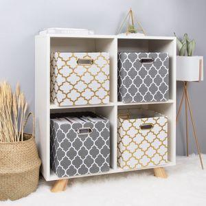 Cube Canvas Fabric Folding Storage Box Toy Storage Organizer Chest for Kids Living Room Nursery Playroom Closet Etc Organizers Z1123