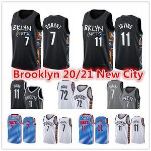 Мужская Кевин 7 Дюрант Кирие # 11 Джерси Ирвинг БруклинСетки2021 Levert 72 Biggie Small Spencer City Black Edition Баскетбол