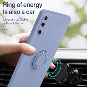 Ultra-thin Silicone Magnetic Holder Phone Case For Samsung galaxy S20 Plus S20Ultra Ring Bracket Cover Magnetic Finger Ring Bracket 3 colors