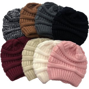 Presale Criss Cross Ponytail Winter Women Messy Bun Ribbed Knit Beanie Hat Girls Skull Cap DHC2676