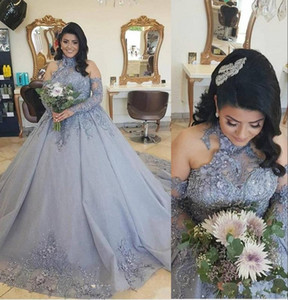 New Silver Gray Ball Gown Luxury Quinceanera Dresses Halter Long Sleeves Hand Made Flowers Sweet 16 Sweep Train Party Prom Evening Gowns