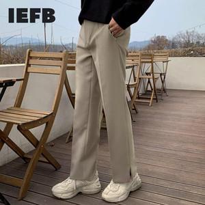 IEFB Herbst Winter koreanische beiläufige Hosen der Männer lose Anzughose Böden breites Bein Mens gerade dünner Trend geteilt 9Y4550