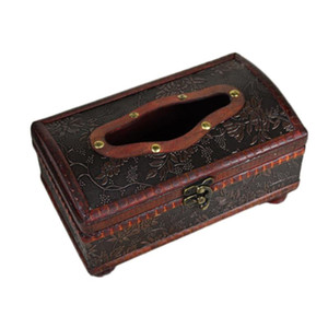 1Pc Household 21X12X11CM Elegant Crafted Wooden Antique Handmade Old Tissue Box Antique Tissue Box for Daily use
